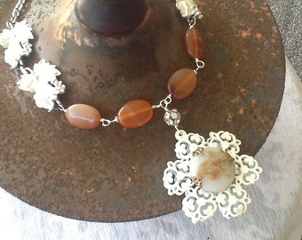 White Flower Necklace, Repurposed Jewelry, Carnelian Necklace, Art Deco Jewelry, Upcycled Recycled