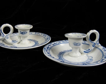 Vintage Candlesticks Holders - Blue and White China Chamber Candlestick holders - set of 2  Candlesticks