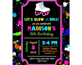 Girl's Neon Glow Roller Skating Invitation Printable or Printed with FREE SHIPPING - Neon Roller Skating Collection