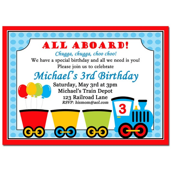 Train Invitation Printable or Printed with FREE SHIPPING - Choo Choo Express Collection
