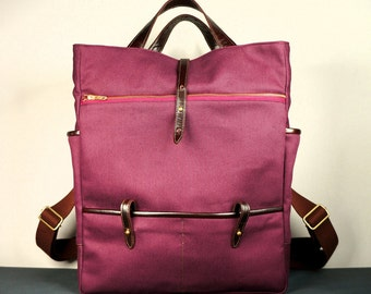 Hudson Backpack in Mulberry Twill and Brown Leather /Laptop Backpack / School Backpack