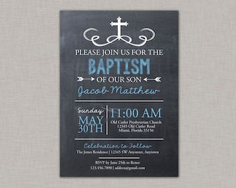 Baptism Invitation, Boy Baptism, Communion, Dedication, Christening, Chalkboard