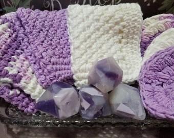 Lavender Vanilla Spa Sets, Gemstone Soaps, Crochet Washcloth, Hand Soaps, Guest Soaps,  Lavender Vanilla Spa Set