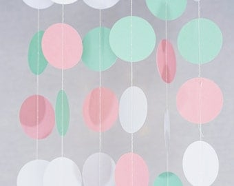 Circle Dots Paper Garland (10 Feet Long) - Pink, Mint and White