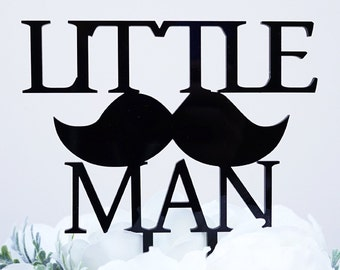 Little Man with Mustache Silhouette Boy Baby Shower Cake Topper Pick - Black Gloss Finish