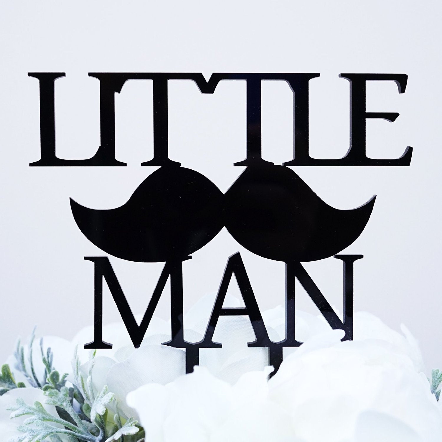 Little Man with Mustache Silhouette Boy Baby Shower Cake Topper