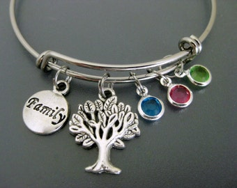 Family Bracelet /  Family Bangle / Birthstone Bracelet /Tree of Life Charm Bracelet  / Adjustable Bangle / Expendable Charm Bracelet