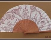 MTO Henna Tattoo Inspired Wood Fabric Folding Flamenco Spanish Hand Painted Hand Handheld Fan by Kate Dengra Spain