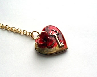 "Steampunk Heart Necklace Locket ""Key to my Heart"" Valentine Necklace"