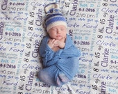 Baby Blanket Personalized with Birth Stats.  Birth date, time, place, name, weight, length , favorite quotes.  Organic Baby Blanket. Swaddle