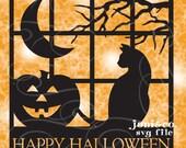 Halloween Glass Block SVG File, SVG cut file, Happy Halloween
