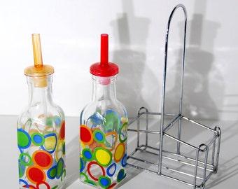 UT0167 Vintage Vinegar and Oil Jars with Caddy Basket