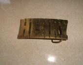 vintage solid brass belt buckle name henry