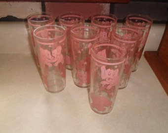 8 vintage hazel atlas pink dancing elephants tall tumbler cocktail barware stars 12 oz