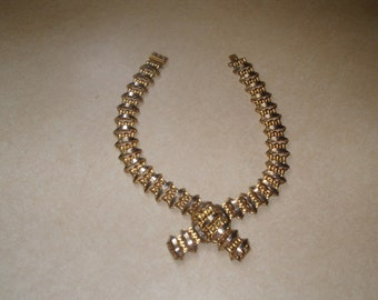 vintage necklace choker gold tone