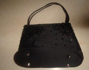 vintage purse handbag black satin beaded sequins