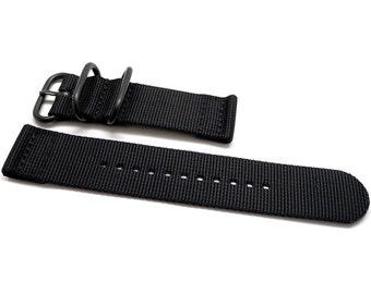 Two Piece Ballistic Nylon NATO Watch Strap - Black (PVD Buckle)