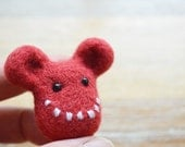 Red Felt Brooch - Needle Felted Character Gus - Felt Monster Face Pin
