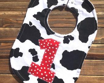 Personalized Cowboy Cowgirl Baby Bib Farm Animal Birthday Party Cow Animal