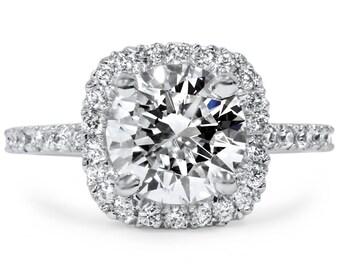 Cushion Halo Enhanced Diamond Engagement Solitaire Ring  2 Carat Cushion Halo Enhanced Diamond Engagement Solitaire Ring 14K White Gold