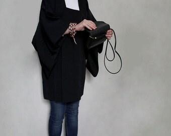 Vintage Silk Haori Jacket. Black Silk with Lamé Landscape Pattern. One Size