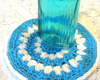 Crochet Potholder -  Blue White Cotton Potholder  - Crochet Hot Pad - Round Trivet - Cottage Kitchen Decor
