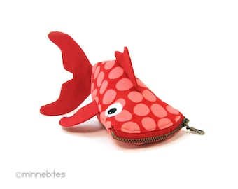 Valentines Gift Cute Zipper Bag for Kids - Pink Fish Pouch - Coin Purse Wristlet - Small Red Fish Pouch - Cute Bag for Kids - Ready to Ship