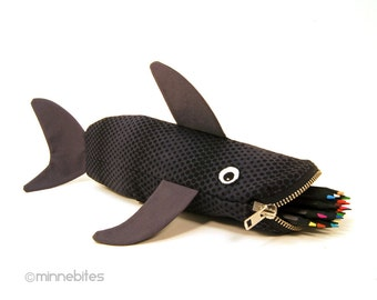 School Bag - Travel Kit - Shark Pencil Case - Gift for Guys - Black Pencil Pouch - Desk Accessory - Kids Birthday Gift - Personalized Bag