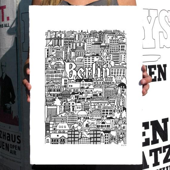 BERLIN Hand-Illustrated Screenprint