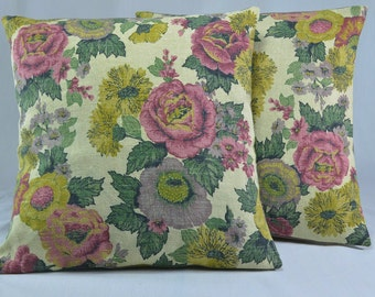 "Vintage Linen Pillow Cover Handmade w/ Linen Floral Fabric Shabby Chic Throw Pillow Home Decor Pillow Decorative Pillow - 16"" Square Pillow"