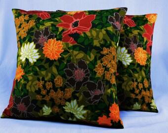 "Cotton Pillow Cover Cushion Covers Vintage Pillow Retro Pillow Floral Pillow Midcentury - 16"" Pillow Cover"