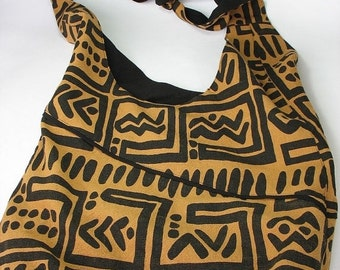 30% OFF Women's Large Messenger Bag Brown  and Black Tribal Bag Handmade Boho OOAK
