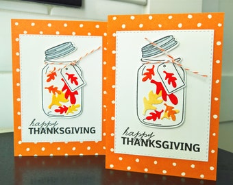 Mason Jar Thanksgiving Cards Set of 2, Happy Thanksgiving Cards
