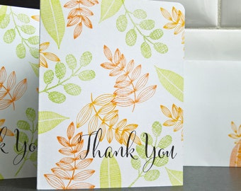 Autumn Thank You Cards Set of 5, Fall Thank You Notes with Matching Envelopes