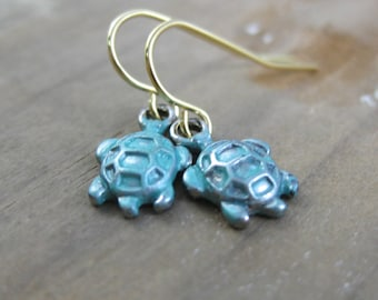 Baby Sea Turtle Silver and Turquoise Dangle Earrings // Charm Earrings // Ready to Ship // Mixed Metal // Beach Wedding