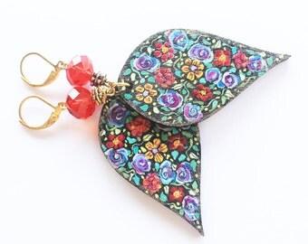 Painted earrings, flower earrings, nature earrings, hand painted earrings, hand painted jewelry, dangle earrings, floral jewelry, girl gift