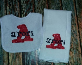 Personalized Bib and Burp Cloth, personalized baby set, personalized baby item