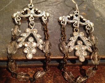 Repurposed Assemblage Rhinestone Earrings