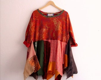 Autumn Orange Dress. Ethical Fashion Bohemian Tunic
