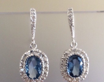 Light Sapphire and Clear CZ with Sterling Silver and Pave Earrings- Weddings- Bridal- Formal- Prom
