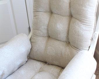 Custom Chair Cushions/ Glider Cushions/ Rocking Chair Cushions/ Glider  Replacement Cushions WITH Glider