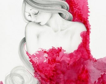 Pink Abstract Watercolor Painting of a Girl Beautiful Women Drawing Pink Art Print of My original Mixed Media Art Original Beautiful Art