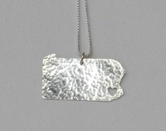 Pennsylvania Necklace. University of Pennsylvania Art Map Shaped Charm. I heart Custom Silver Pennsylvania State Love Outline Charm.