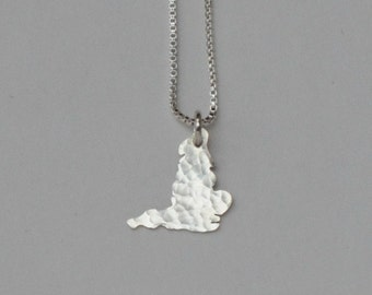 Tiny England Necklace. Custom Small England Shaped Map Charm. Silver English Country Outline Pendant. Gold UK Stratton England Necklace.