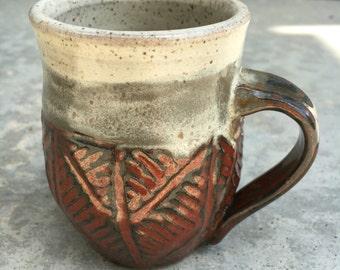 textured red and cream coffee mug ooak