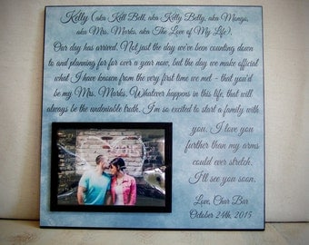 Gift For Wife On Wedding Day Personalized Vow Picture Frame Her