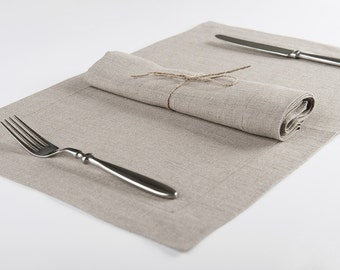 Linen napkins or placemats set of six Flax grey color natural table linens Handmade of 100% linen fabric