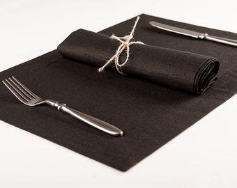 Black linen place-mats or napkins Set of six