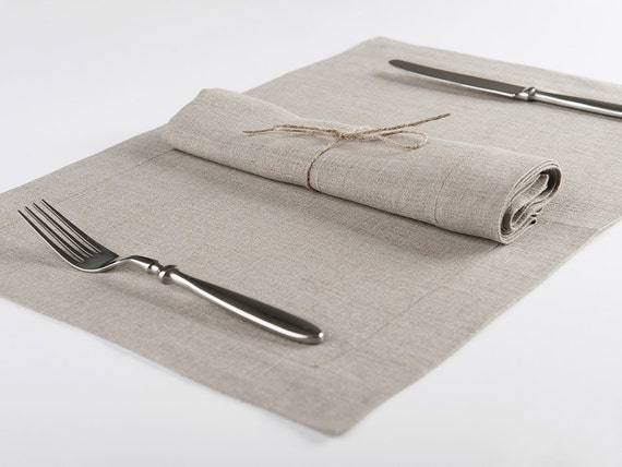 Linen napkins or placemats set of six Earth grey color natural table linens Handmade of 100% flax