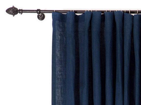 Blackout curtain Linen drapes Indigo curtains Custom curtain panels ...